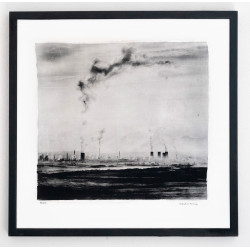 Industrial morning - Alternative photographic processesed print. Antracoytipia / Resinotype over real silver